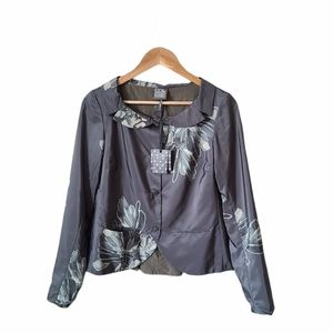 LILITH Suit Jacket Blazer Gray Green Floral *read*